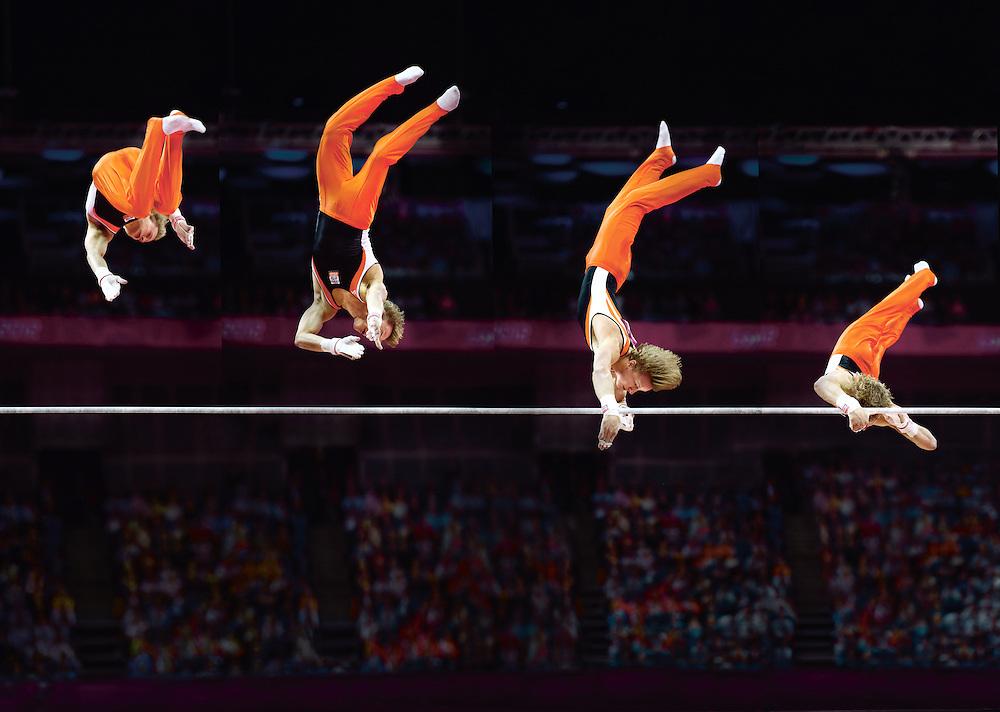 Engeland, Londen, 07-08-2012.<br /> Olympische Spelen, Turnen.<br /> Epke Zonderland met de Kolman.<br /> Foto : Klaas Jan van der Weij