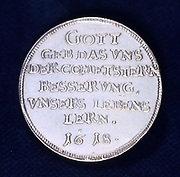 Reverse of medal commemorating  the brilliant comet of November 1618.  The message says that God sent us the starry comet as a warning to us to lead better lives.  This comet prompted many pamphlets, including Galileo Galilei's (1564-1642) polemical masterpiece 'Il Saggiatore' ('The Assayer'). (Rome, 1623).