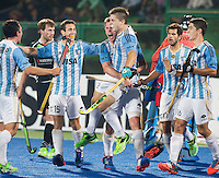 RAIPUR (India) .  Gonzalo Peillat (Arg) scored 3-1 and celebrates it with his team  fltr  Pedro Ibarra (Arg) Diego Ignacio Paz (Arg), Lucas Rossi (Arg), Gonzalo Peillat (Arg) , Juan Lopez (Arg) and Ignacio ,  during the match in de Hockey Wold League Final round men . Argentina v Germany (3-1).  WSP / COPYRIGHT KOEN SUYK