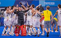 TOKIO -  keeper Vincent Vanasch (Bel) . Vreugde bij de Belgen na  de hockey finale mannen, Australie-Belgie (1-1), België wint shoot outs en is Olympisch Kampioen,  in het Oi HockeyStadion,   tijdens de Olympische Spelen van Tokio 2020.  midden keeper Vincent Vanasch (Bel) . COPYRIGHT KOEN SUYK