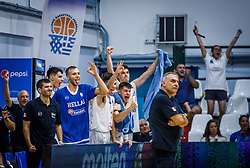 Players of Greece celebrate during basketball match between National teams of Greece and Slovenia in the Group Phase C of FIBA U18 European Championship 2019, on July 29, 2019 in  Nea Ionia Hall, Volos, Greece. Photo by Vid Ponikvar / Sportida