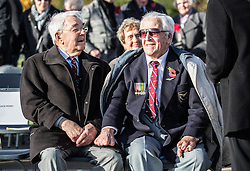 """Surviving """"Guinea pig club"""" members Alan Morgan (right) and Douglas Vince wait for the ceremony to unveil a new memorial to those airmen saved after being burned in their aircraft at the National Memorial Arboretum, Staffordshire."""