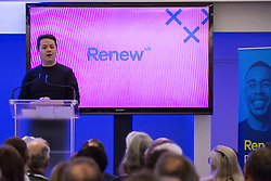 London, UK. 24th November, 2018. James Torrance, Leader of Renew UK, a new centrist political party launched in February 2018, addresses its inaugural National Assembly at Westminster Central Hall. Led by Annabel Mullin, James Torrance and James Clarke, Renew UK has signed up 100 candidates ready to stand in future UK elections based on a wide-ranging programme of reform.