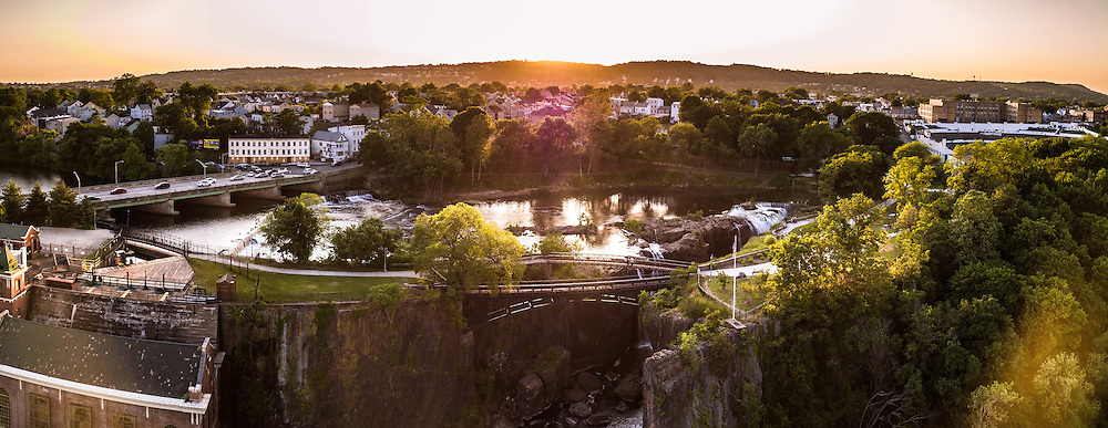 An aerial panorama of the Paterson Great Falls photographed with the DJI Inspire Professional.