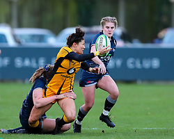 Gemma Rowland of Wasps Ladies is tackled by Laura Perrin of Sale Sharks Women  - Mandatory by-line: Nick Browning/JMP - 12/12/2020 - RUGBY - CorpAcq Stadium  - Sale, England - Sale Sharks Women v Wasps FC Ladies - Allianz Premier 15s