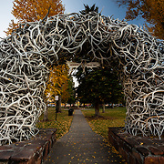 Antler arches in the town square of downtown Jackson, Wyoming.