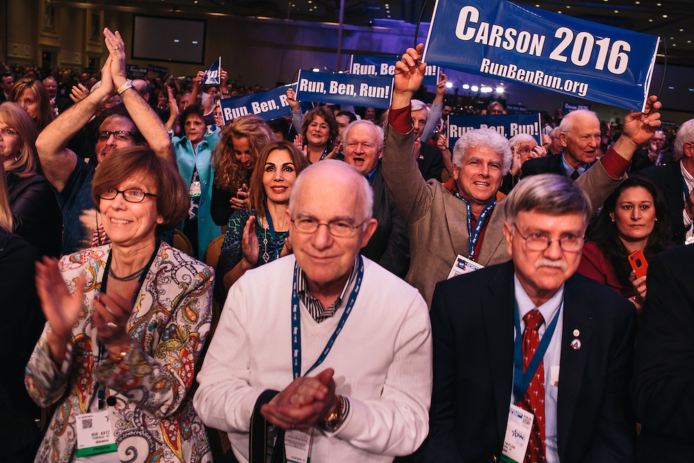 The crowd gives Dr. Ben Carson a standing ovation during the final day of the Conservative Political Action Conference (CPAC) at the Gaylord National Resort & Convention Center in National Harbor, Md.