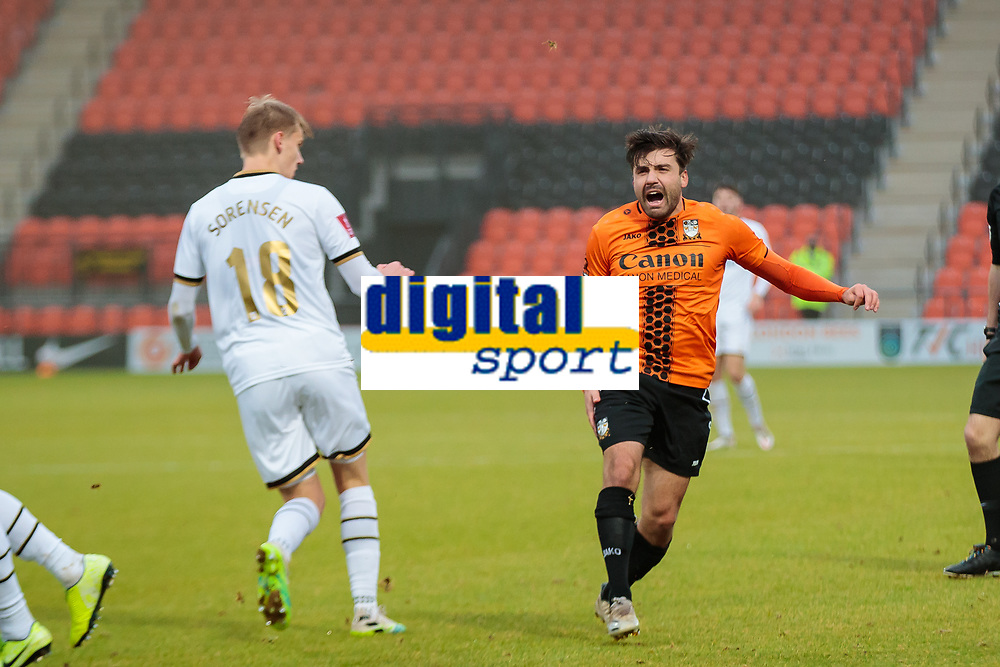 Football - 2020 / 2021 Emirates FA Cup - Round 2 - Barnet vs Milton Keynes Dons - The Hive<br /> <br /> Mike Petrasso (Barnet FC) holds his leg and screams out in pain after picking up an injury<br /> <br /> COLORSPORT/DANIEL BEARHAM