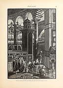 Interior of the Dome of The Rock, Jerusalem. from the book Picturesque Palestine, Sinai, and Egypt By  Colonel Wilson, Charles William, Sir, 1836-1905. Published in New York by D. Appleton and Company in 1881  with engravings in steel and wood from original Drawings by Harry Fenn and J. D. Woodward Volume 1