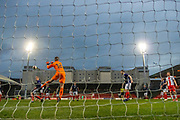 Scotland keeper saves from a strike late on in the game during the U17 European Championships match between Scotland and Poland at Firhill Stadium, Maryhill, Scotland on 26 March 2019.