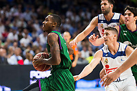 Real Madrid's player Jaycee Carroll and Felipe Reyes and Unicaja Malaga's player Jamar Smith during match of Liga Endesa at Barclaycard Center in Madrid. September 30, Spain. 2016. (ALTERPHOTOS/BorjaB.Hojas)