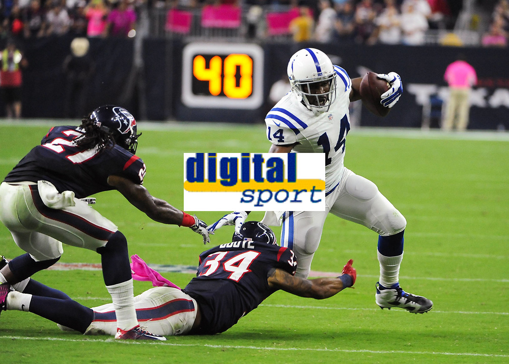 October 9th, 2014: Indianapolis Colts Wide Receiver Hakeem Nicks (14) runs after the catch during the Thursday Night Football game Houston Texans vs Indianapolis Colts at NRG Stadium in Houston, TX. NFL American Football Herren USA OCT 09 Colts at Texans PUBLICATIONxINxGERxSUIxAUTxHUNxRUSxSWExNORxONLY Icon14100907<br /> <br /> October 9th 2014 Indianapolis Colts Wide Receiver Hakeem Nicks 14 Runs After The Catch during The Thursday Night Football Game Houston Texans vs Indianapolis Colts AT NRG Stage in Houston TX NFL American Football men USA OCT 09 Colts AT Texans PUBLICATIONxINxGERxSUIxAUTxHUNxRUSxSWExNORxONLY