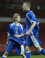 Photo: Marc Atkins.<br /> Arsenal v Cardiff City. FA Youth Cup. 19/02/2007. James Upcott (L) of Cardiff City looks back in disbelief at the Referee after having his goal dissallowed for offside.