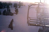 Ski lift in storm at Kirkwood Ski Resort, CA.<br />