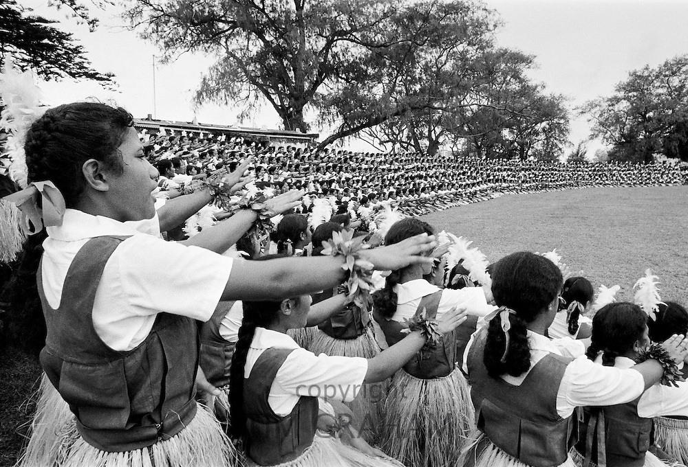 Young girls at tribal gathering in Tonga, South Pacific