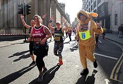 Competitors pass Bank during the 2019 London Landmarks Half Marathon.
