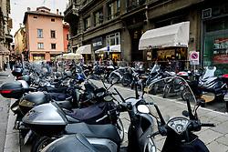 Parked mopeds in Bologna, Italy<br /> <br /> (c) Andrew Wilson | Edinburgh Elite media