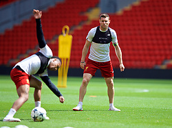 LIVERPOOL, ENGLAND - Monday, May 21, 2018: Liverpool's James Milner during a training session at Anfield ahead of the UEFA Champions League Final match between Real Madrid CF and Liverpool FC. (Pic by Paul Greenwood/Propaganda)