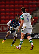 Sale Sharks wing Marland Yarde skips during a Gallagher Premiership Round 12 Rugby Union match, Friday, Mar 05, 2021, in Eccles, United Kingdom. (Steve Flynn/Image of Sport)