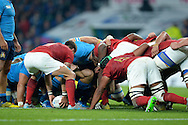 Quintin Geldenhurys Italy captain waits to roll the ball into the scrum. Rugby World Cup 2015 pool D match, France v Italy at Twickenham Stadium in London on Saturday 19th September 2015.<br /> pic by John Patrick Fletcher, Andrew Orchard sports photography.