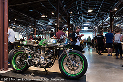 Bryan Fuller's custom Norton during Friday night opening of the Handbuilt Motorcycle Show. Austin, TX. April 10, 2015.  Photography ©2015 Michael Lichter.