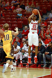 05 November 2016:   Madison Williams(25) from the corner in front of Grant Meyer during an NCAA  mens basketball game where the Quincy Hawks lost to the Illinois State Redbirds in an exhibition game at Redbird Arena, Normal IL