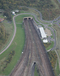 Image ©Licensed to i-Images Picture Agency. Aerial views. United Kingdom.<br /> English entrance to the Channel Tunnel, Folkestone, Kent. Picture by i-Images