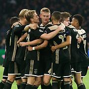 NLD/Amsterdam/20181023 - Champions Leaguewedstrijd  Ajax - SL Benfica, blijdschap bij ajax na de overwinning