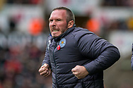 caretaker Manager of Leicester City, Michael Appleton reacts on the touchline. Premier league match, Swansea city v Leicester city at the Liberty Stadium in Swansea, South Wales on Saturday 21st October 2017.<br /> pic by Aled Llywelyn, Andrew Orchard sports photography.