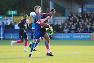 AFC Wimbledon defender Mads Bech Sorensen (26) battles for possession with Peterborough United attacker Ivan Toney (17) during the EFL Sky Bet League 1 match between AFC Wimbledon and Peterborough United at the Cherry Red Records Stadium, Kingston, England on 18 January 2020.