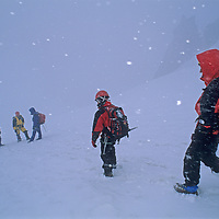 Mountaineers descend the Vowell Glacier during a snowstorm in Bugaboo Provincial Park, British Columbia, Canada.