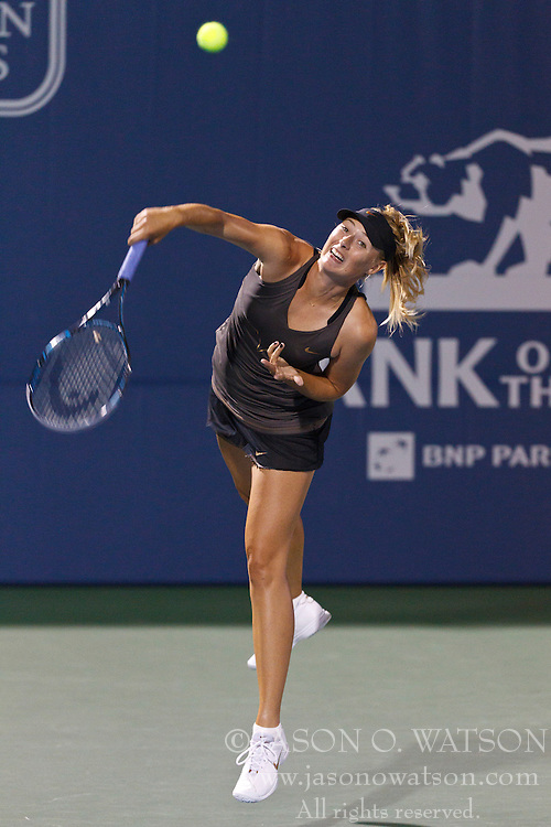 July 27, 2011; Stanford, CA, USA;  Maria Sharapova (RUS) serves the ball against Daniela Hantuchova (SVK), not pictured, during the second round of the Bank of the West Classic women's tennis tournament at the Taube Family Tennis Stadium. Sharapova defeated Hantuchova 6-2, 2-6, 6-4.