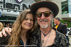 Cris and Pat Simmons at the Arlen Ness Memorial - Celebration of Life at the Arlen Ness Motorcycles store. Dublin, CA, USA. Saturday, April 27, 2019. Photography ©2019 Michael Lichter.