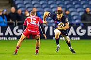 Luke Crosbie (#7) of Edinburgh Rugby charges towards Ioan Nicholas (#12) of Scarlets during the Guinness Pro 14 2019_20 match between Edinburgh Rugby and Scarlets at BT Murrayfield Stadium, Edinburgh, Scotland on 26 October 2019.