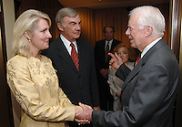 "President Jimmy Carter greets Sam Donaldson and his wife Jan Fox at an advance screening of the film :Jimmy Carter Man From Plains"" in Washington, DC on October 23, 2007.  The film was directed by award winning director Jonathan Demme and is based on the life of Jimmy Carter."
