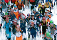 Racers in the North American Ski Mountaineering Championships dart off the starting line at Jackson Hole Mountain Resort.
