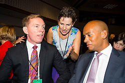 © Licensed to London News Pictures. 12/09/2015. London, UK. L TO R CHRIS BRYANT MP, MARY CREAGH MP and CHUKA UMUNNA MP talking before the announcement of  Jeremy Corbyn as the new of the Labour Party. . The announcement of the new leader of the Labour Party at the QEII centre in Westminster, London on September 12, 2015. Former leader ED Miliband resigned after a heavy defeat at the last election. Photo credit: Ben Cawthra/LNP