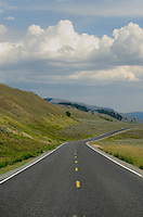 Road through Lamar Valley of Yellowstone National Park