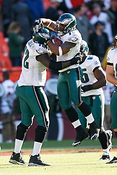 12 Oct 2008: Philadelphia Eagles defensive end Juqua Parker #75 celebrates after an interception and successful run for a touchdown during the game against the San Francisco 49ers on October 12th, 2008. The Eagles won 40-26 at Candlestick Park in San Francisco, California. (Photo by Brian Garfinkel) (Photo by Brian Garfinkel)