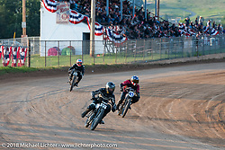 Josh Young (27), Brittney Olsen (13) and Mark Hannah in Brittney's Spirit of Sturgis antique motorcycle flat track race at the historic Sturgis Half Mile during the 78th annual Sturgis Motorcycle Rally. Sturgis, SD. USA. Monday August 6, 2018. Photography ©2018 Michael Lichter.