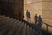 The shadows of people and the steps of 1980s architecture of 1, London Bridge in Southwark, on 10th October 2018, in London, England.