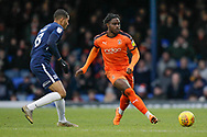 Luton Town midfielder Pelly Ruddock (17) and Southend United midfielder Timothee Dieng (8) during the EFL Sky Bet League 1 match between Southend United and Luton Town at Roots Hall, Southend, England on 26 January 2019.