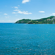 La Casa Que Canta, a luxury resort on the cliffs of Zihuatanejo overlooking the bay. High resolution panorama.