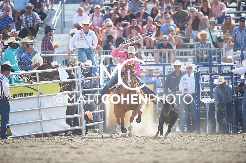 Tie-down roper Tyson Durfey of Colbert, WA competes at the Rancho Mission Viejo Rodeo in San Juan Capistrano, CA.  <br /> <br /> <br /> UNEDITED LOW-RES PREVIEW<br /> <br /> <br /> File shown may be an unedited low resolution version used as a proof only. All prints are 100% guaranteed for quality. Sizes 8x10+ come with a version for personal social media. I am currently not selling downloads for commercial/brand use.