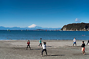 panoramic view of Mt Fuji  and the island Enoshima seen from Zushi beach