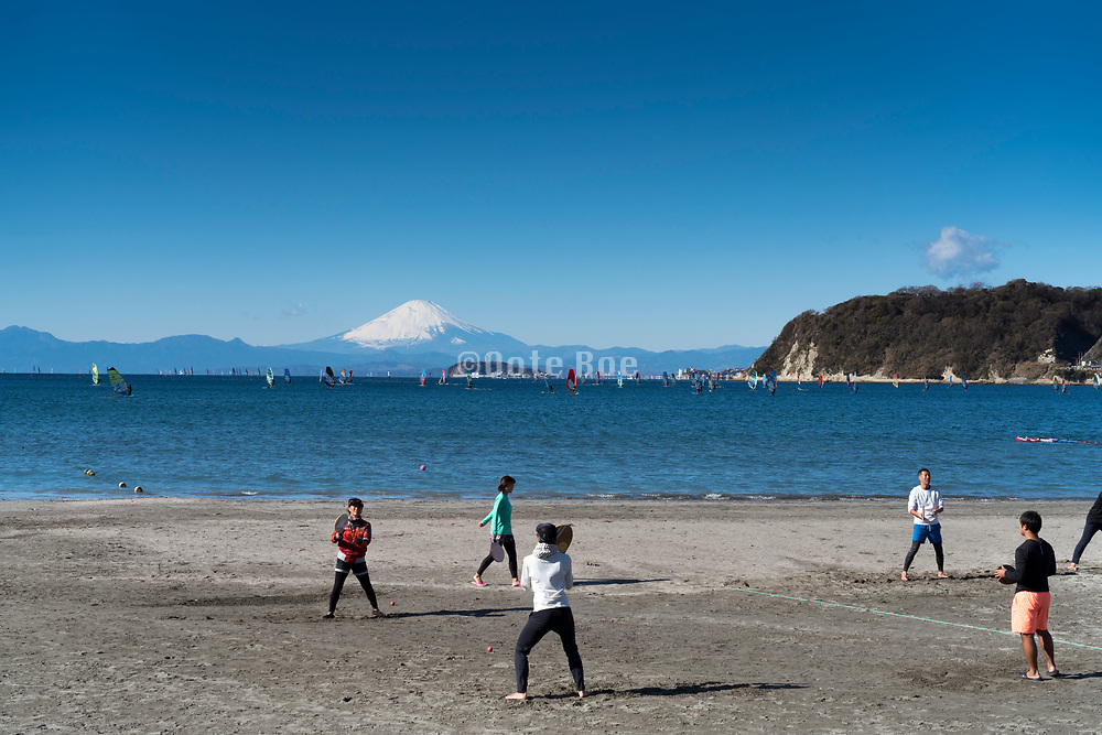 panoramic view of Mt Fuji  and the island Enoshima seen from Zushi beach