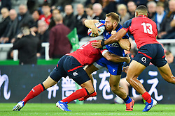Giulio Bisegni of Italy is tackled by Piers Francis of England<br /> <br /> Photographer Craig Thomas/Replay Images<br /> <br /> Quilter International - England v Italy - Friday 6th September 2019 - St James' Park - Newcastle<br /> <br /> World Copyright © Replay Images . All rights reserved. info@replayimages.co.uk - http://replayimages.co.uk