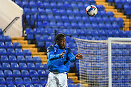Tranmere Rovers defender Emmanuel Monthe warms up during the EFL Sky Bet League 2 match between Tranmere Rovers and Forest Green Rovers at Prenton Park, Birkenhead, England on 19 January 2021.