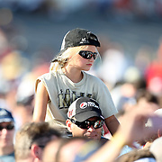 A young fan watches as Pat Monahan of the Grammy award winning band Train sings during a one hour performance prior to the start of the NASCAR Coke Zero 400 race at Daytona International Speedway in Daytona Beach, Fl., on Saturday July 7, 2012. (AP Photo/Alex Menendez) Grammy Award winning band TRAIN plays an hour long concert prior to the NASCAR Coke Zero 400 race at Daytona International Speedway in Daytona Beach, Florida on July 7, 2012.