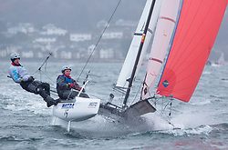 The annual RYA Youth National Championships is the UK's premier youth racing event. Day 3 with winds backing to the North the racing started on the Largs Channel.<br /> <br /> 160, James Stacey, Catherine Elson, Brightlingsea, Nacra 15 Open <br /> <br /> Images: Marc Turner / RYA<br /> <br /> For further information contact:<br /> <br /> Richard Aspland, <br /> RYA Racing Communications Officer (on site)<br /> E: richard.aspland@rya.org.uk<br /> m: 07469 854599